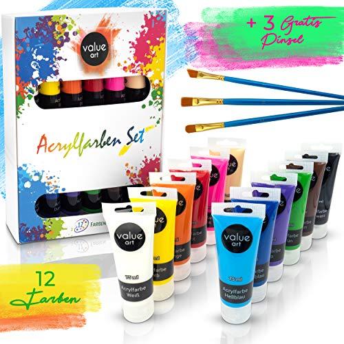 Value Art Acryl Farben Set [12x 75ml] Acrylfarben - Inklusive 3 Pinsel - Wasserfeste Acrylfarbe für Leinwand, Holz, Papier und Stein - Acrylfarben Set für Kinder & Erwachsene