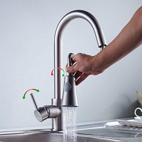 Auralum Chrom Einhebel Küchearmatur Waschtischarmatur Spültischarmatur Mischbatterie für Wasserhahn Küche