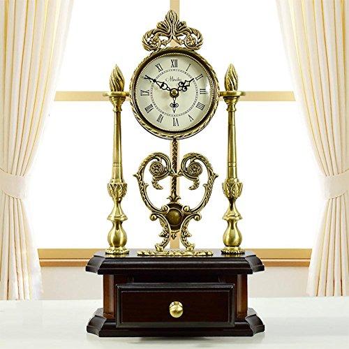 Lll-orologio da tavolo antiquariato in rame di stile europeo decorazione calda dell'orologio del quarzo di legno massiccio pastorale, coffee