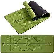 Esterilla yoga TPE ecológica para gimnasio con líneas de alineación, superficie texturizada antideslizante y a