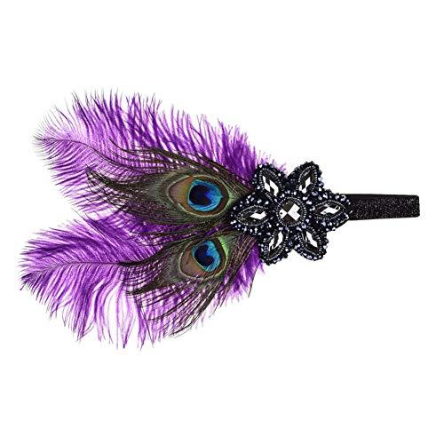 Accessoires, Elastic Strap Fringed Haar Belt Feder Rhinestone Headband für Karneval Halloween Prom Thema Party (eine Größe),Purple ()