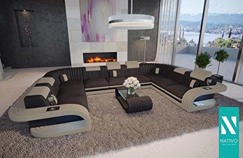 DESIGNER SOFA ROYAL CORNER U FORM MIT LED BELEUCHTUNG & USB ANSCHLUSS NATIVO Couchgarnitur Eckgarnitur Polstergarnitur