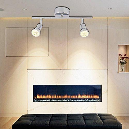 VINGOR LED Deckenleuchte GU10 Deckenstrahler Inkl 2 X 4W Leuchtmittel 230v Moderne Schlafzimmerleuchte Spots Verstellbar Wohnzimmerlampe Deckenspot