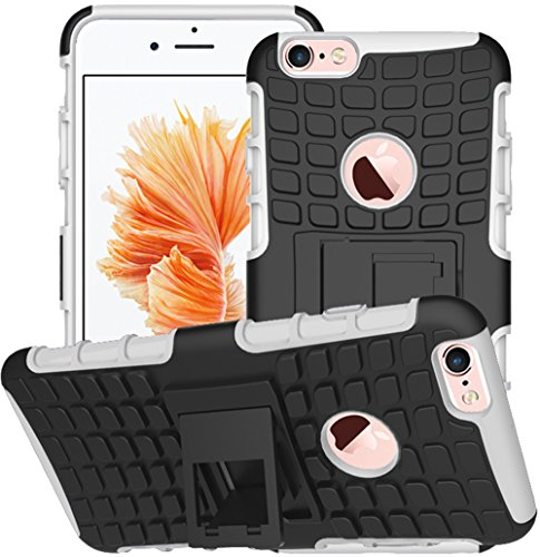 Apple iPhone 6/6S Custodia Nnopbeclik Hybrid 2 in1 TPU + PC Custodia Cover Case Silicone armatura Armor Dual Layer modello Custodia Back Cover 360 gradi di rotazione del basamento antiurto cellulare C Nero/Bianco