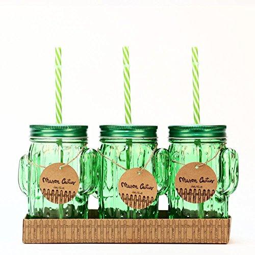 Helio ferretti mason hf set di caraffe a forma di cactus, vetro, metallo e plastica, bianco, 15x 10x 7cm, 3pezzi
