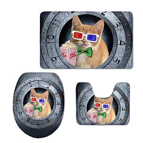 Drei Stück Bad-set (LLW 3 Stück Bad Mat Set Flanell rutschfeste Nette Tiere Toilette Drei Sätze Teppich Sockel Deckel Matte WC Abdeckung , C)
