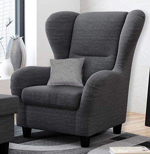 Ohrensessel grau | Relaxsessel | Fernsehsessel | Stoff | Zierkissen | schwarze Holzfüße | B/H/T...