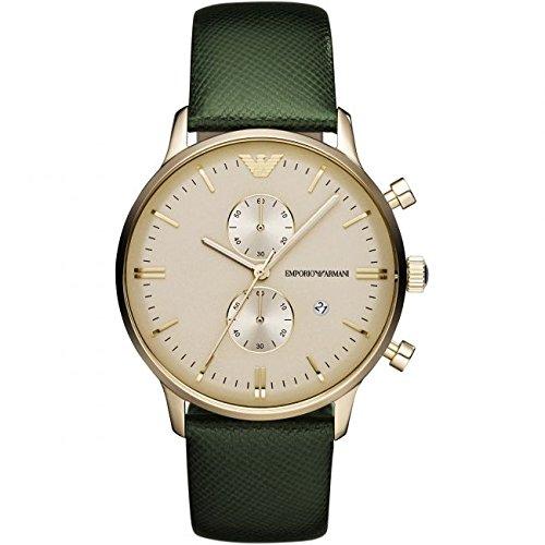 Emporio Armani AR1722 - Orologio da polso unisex, cinturino in pelle colore verde
