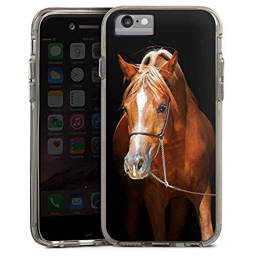 Apple iPhone 6s Plus Bumper Hülle Bumper Case Glitzer Hülle Pferd Horse Stute Hengst Bumper Case transparent grau