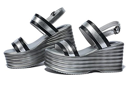 Beauqueen Open-Toe Frauen Sommer Sandalen Pumpe Monk-Straps Plattform Fersen Einfache Sandalen Weiß Schwarz Europa Größe 34-39 Black