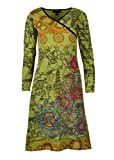 TATTOPANI Damen Langarm Kleid mit All Over Print und Blumenstickerei (LMN6022-GRNXL)