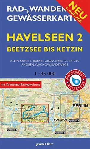 Rad-, Wander- und Gewässerkarte Havelseen 2: Beetzsee bis Ketzin: Mit Klein Kreutz, Jeserig, Groß Kreutz, Phöben, Wachow, Radewege. Maßstab 1:35.000. ... und Gewässerkarten Berlin/Brandenburg)