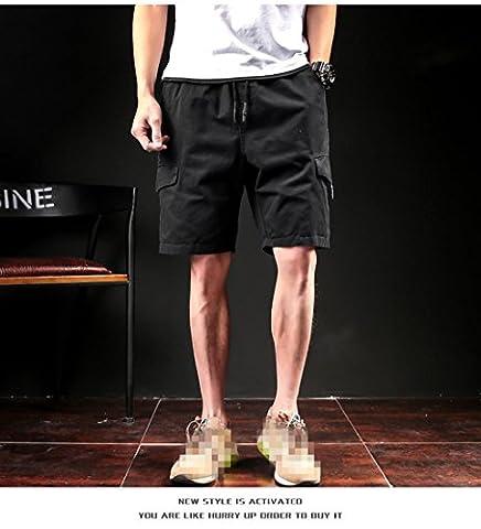 Baumwoll-Shorts Herren Casual Summer Plus Size Herren Short Knielänge Surfings Kurz Freizeit Fitness Breathable Shorts, Schwarz, 2XL