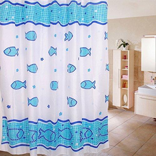Preisvergleich Produktbild dealglad® blau Fish und Sea Wasserdicht Polyester-moldproof-Badezimmer Duschvorhang mit 12Haken, blau, 120 x 180 cm