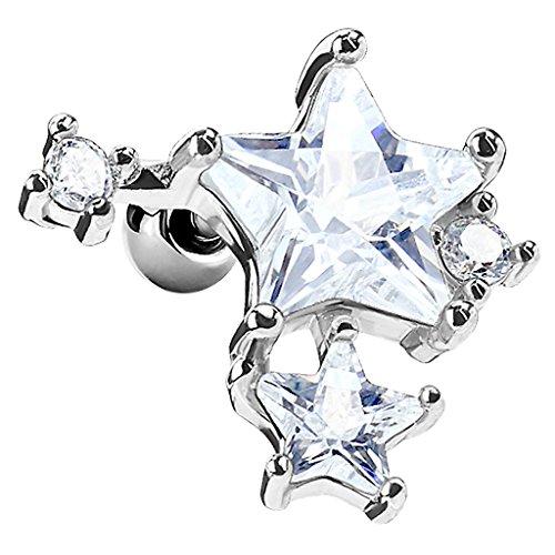 Piersando Tragus Helix Ohr Piercing Cartilage Knorpel Stab Stecker 316 L Chirurgenstahl Sterne mit Strass Kristallen Steinen Weiß Silber