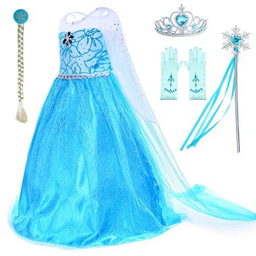 (CQY Gefrorene Anziehkleidung für kleine Mädchen ELSA Schneekönigin Anna Prinzessin Kostüme Geburtstagsfeier Kostüm Schneewittchen 3-12 Jahre Halloween-Kostüm,XS)