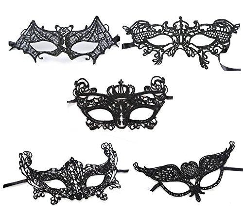 CAOLATOR Lace Masquerade Maske Set 5 Stück Damen Spitze Augenmaske Schwarz Venetian Gesichtsmaske Maskenball Masken für Halloween Kostüm Karneval Party(3)