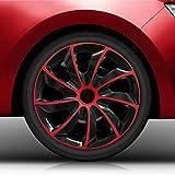 Autoteppich Stylers (Größe wählbar) 15' 15 Zoll Radkappen/Radzierblenden QuB Bicolor (Schwarz-Rot) passend für Fast alle Fahrzeugtypen - universal