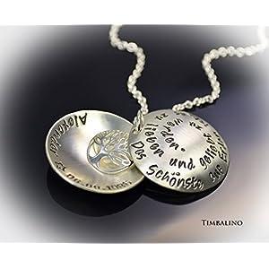 Silberkette mit Text Medaillon 925 Silber Lebensbaum