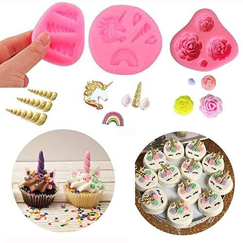 Einhorn Regen Silikon Kuchendekoration Formen Fondant Candy Kuchen Dekoration Formen Einhorn Horn Ohren und Wimpern Set von 3