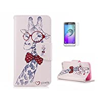 Case For Galaxy J7 2017 [With Tempered Glass Screen Protector],Fatcatparadise(TM) Anti Scratch Flip Soft Silicone Back Cover Case ,Colorful Cute Pattern Design Flip Magnetic Premium PU Leather Credit Card Folio Holder Wallet Case For Samsung Galaxy J7 201