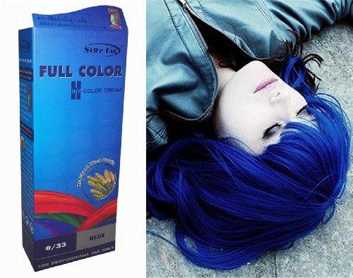 (Permanente Haarfarbe Tönung Coloration Haar Cosplay Gothic Punk BLAU 0/33 OHNE Parabene, Ammoniak, Silikone, Sulfate)