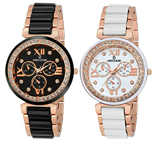 Decode Analogue White Dial Women'S And Girl'S Watch-Aspire White Black Golden Ceramic Combo