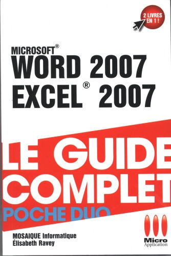 COMPLET POCHE DUO WORD 2007 EXCEL 2007 par Collectif