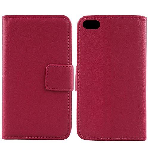 Gukas Design Veritable Cuir Etui Pour Apple iPhone 4 4G 4S Housse Coque Premium Case Cover Flip Protecteur Portefeuille Genuine Leather Wallet (Rose) Rose