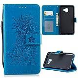 iAdvantec J4 2018 Hülle, Filp PU Leder Case Wallet Handyhülle Flipcase : Bookstyle Ananas Tasche Schutzhülle für Samsung Galaxy J4 2018 in Blau