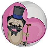 Round Rug Mat Carpet,Pug,Presentable Funny Dog with a Top Hat and a Cane in front of a Giant Heart...