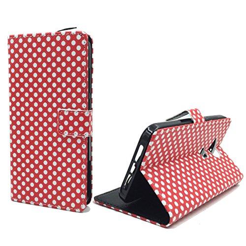 König-Shop Handy-Hülle Kompatibel mit Wiko Highway Pure Schutz-Case Flip-Cover Klapp-Tasche Book-Style Wallet Motiv - Rot/Weiß Gepunktet