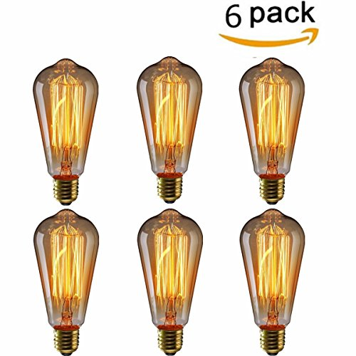 KINGSO 6 pack Vintage Edison Bulb E27 Base 60w ST64 Antique Filament Tungsten Squirrel Cage Style 19 Anchors Incandescent Bulbs for Home Light Fixtures Decorative Glass 220V