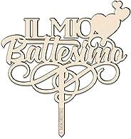 Cake topper IL MIO BATTESIMO con Cuoricini L 18 cm in legno – I MAESTRI Made in Italy