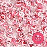 500 g Rocce Cuore Dolci - decorazione della tavola carino per i matrimoni Battesimo San Valentino festa della mamma - Fatto a mano a rosicchiare - Rosso