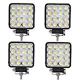 Tempo di Saldi® - Faros cuadrados de trabajo, 16 LED, faros de profundidad, 48W, para vehículos y barcos, 4 unidades