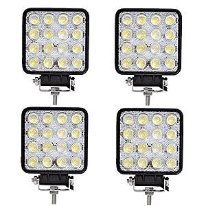 Tempo di Saldi® – Faros cuadrados de trabajo, 16 LED, faros de profundidad, 48W, para vehículos y barcos, 4 unidades