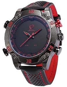 Shark - SH230 - Montre Homme - Quartz - LED/Date/Jour/Alarm - Digital Analog - Bracelet Cuir Noir Rouge
