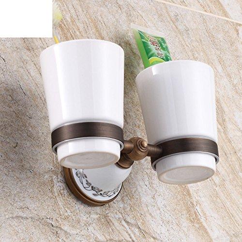 Glas-antik-zahnbürste-halter (antike Tasse Doppel - Cup. Die Zahnbürste Cup Tassen-Halter-Set und Becher-A)
