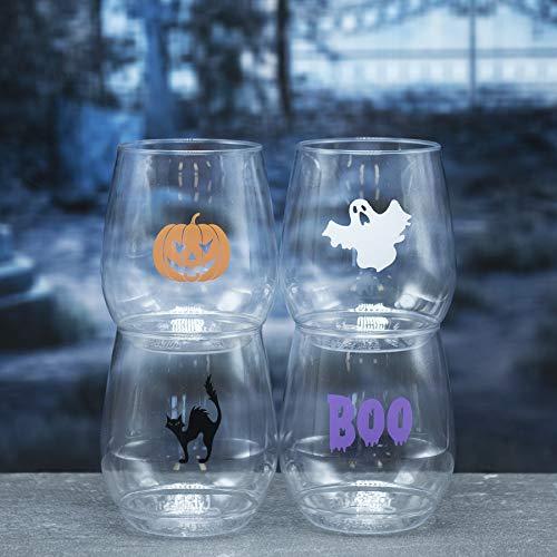 Halloween Grafiken Frei - Weinglas, BPA-frei, bruchsicher, ca. 400 ml,