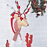 Valery Madelyn Christmas Rudolph Reindeer Head Wall Decoration Elegant Novel Xmas Decoration Wool And Fabric Felt 40 * 20 * 20cm for Christmas Wedding Birthday Party Fresh Decoration Style