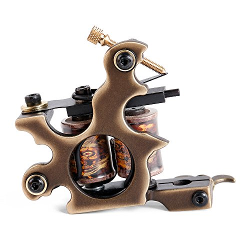 Solong Tattoo® Tattoo Maschine Custom Messing Gun Handmade 10 Wraps Pure Kupfer Coils für Shader M206-2 (Handmade Tattoo Maschine)