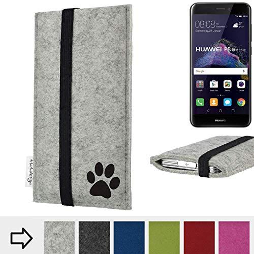 flat.design Handy Hülle Coimbra für Huawei P8 Lite 2017 Dual SIM individualsierbare Handytasche Filz Tasche fair Hund Pfote tatze
