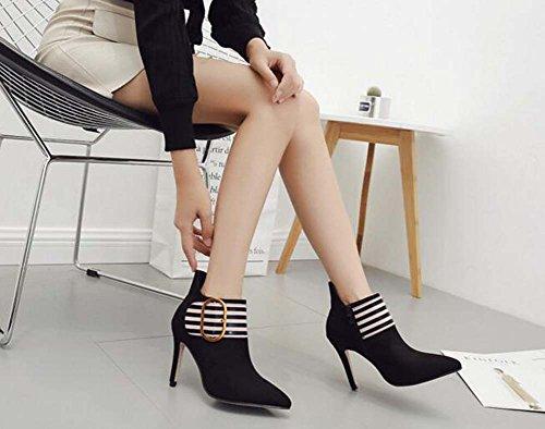 10cm Stiletto ha puntato i pattini della caviglia stivali dei caricamenti del sistema femminili Charming colore di corrispondenza della cinghia della cinghia dell'inarcamento Martin Stivali della patt Black
