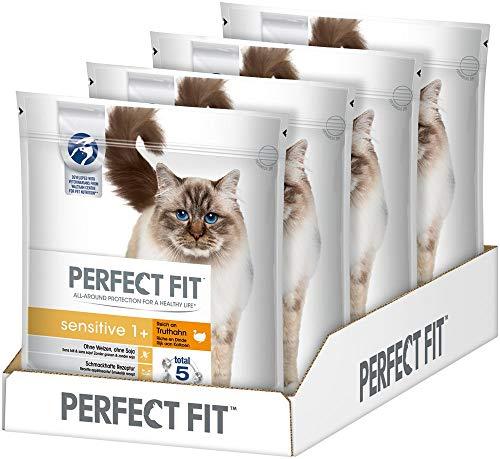 Perfect Fit Katzenfutter Trockenfutter Sensitive Adult 1+ Reich an Truthahn, 4 Beutel (4 x 1,4 kg)