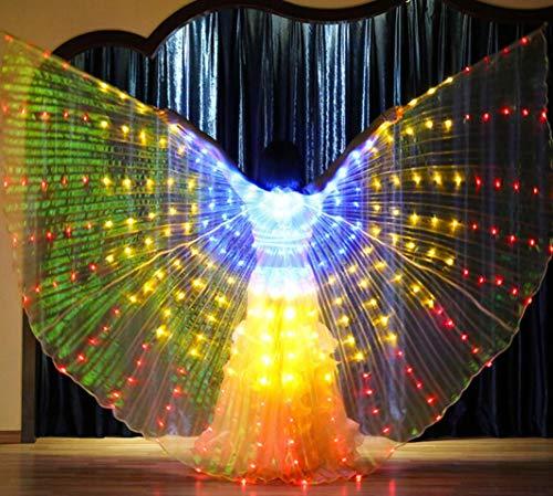 Break Kostüm Dance - SMACO Erwachsene Frau leuchtendes weißes Licht ISIS-Engelsflügel führten Schmetterlings-Bauchtanz-Kostüm für Kinderbauchtanz-Leistungs-Tanzen-Zusätze,C