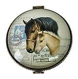 Value Wert Arts Pferd und Colt Schmuckdose, Keramik und Glas, 6,3cm Durchmesser