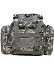 SODIAL(R) Bolsa de trastos de pesca Mar / Carpa / Mosca Caja de transporte de hombro de cintura de almacenamiento impermeable Camuflaje ACU