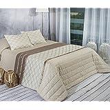 Algodón Blanco Xavier - Colcha bouti jacquard, para cama de 180 cm, 270 x 270 cm, 2 fundas de cojín, 60 x 40 cm, color beige