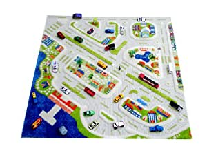 IVI 1 x 1m Thick Mini City 3D Children's Play Mat and Decorative Rug in Child Captivating Colours